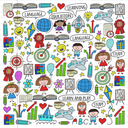 Vector set of learning English language, children's drawing icons in doodle style. Painted, colorful, pictures on a piece of linear paper on white background. Reklamní fotografie - 124808953