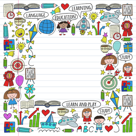 Vector set of learning English language, children's drawing icons in doodle style. Painted, colorful, pictures on a piece of linear paper on white background. Imagens - 124808954