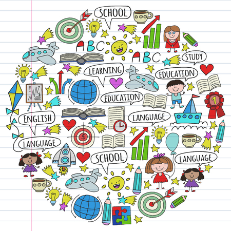 Vector set of learning English language, children's drawing icons in doodle style. Painted, colorful, pictures on a piece of linear paper on white background. Imagens - 124808956