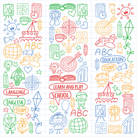 Vector set of english language, childrens drawingicons icons in doodle style. Painted, colorful, pictures on a sheet of checkered paper on a white background Ilustrace