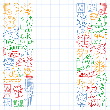 Vector set of english language, children's drawingicons icons in doodle style. Painted, colorful, pictures on a sheet of checkered paper on a white background Imagens - 124763101