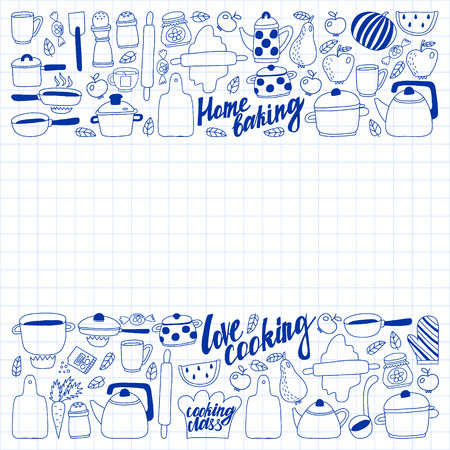 Vector set of children's kitchen and cooking drawings icons in doodle style. Painted, drawn with a pen, on a sheet of checkered paper on a white background Imagens - 124763102