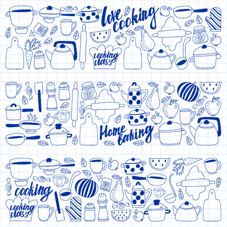 Vector set of children's kitchen and cooking drawings icons in doodle style. Painted, drawn with a pen, on a sheet of checkered paper on a white background Imagens - 124763103