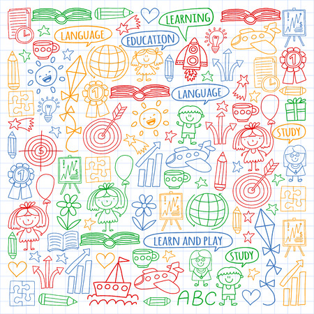 Vector set of english language, children's drawingicons icons in doodle style. Painted, colorful, pictures on a sheet of checkered paper on a white background Imagens - 124763104