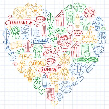 Vector conjunto de idioma inglés, iconos de drawingicons para niños en estilo doodle. Imágenes pintadas, coloridas, en una hoja de papel cuadriculado sobre un fondo blanco.