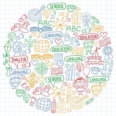 Vector set of english language, children's drawingicons icons in doodle style. Painted, colorful, pictures on a sheet of checkered paper on a white background Imagens - 124763113