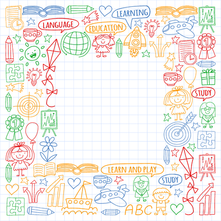 Vector set of english language, children's drawingicons icons in doodle style. Painted, colorful, pictures on a sheet of checkered paper on a white background Imagens - 124763114
