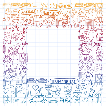 Vector set of learning English language, childrens drawing icons in doodle style. Painted, colorful, gradient, on a sheet of checkered paper on a white background