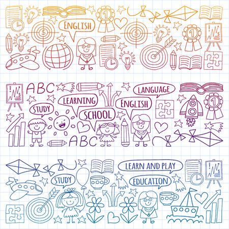 Vector set of learning English language, children's drawing icons in doodle style. Painted, colorful, gradient, on a sheet of checkered paper on a white background