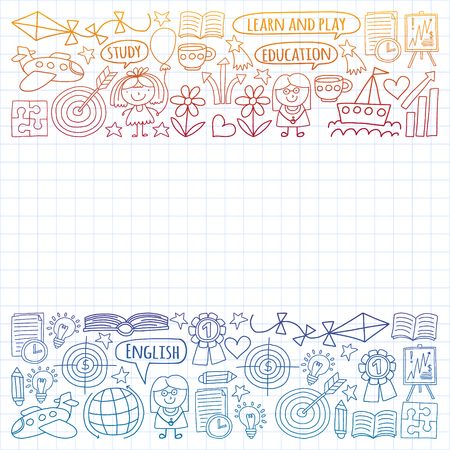 Vector set of learning English language, children's drawing icons in doodle style. Painted, colorful, gradient, on a sheet of checkered paper on a white background Imagens - 124695738