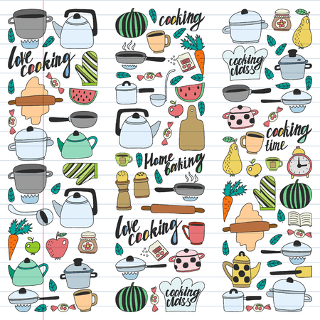 Vector set of children's kitchen and cooking drawings icons in doodle style. Painted, colorful, pictures on a piece of linear paper on white background Imagens - 124695740