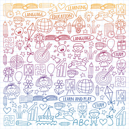 Vector set of learning English language, children's drawing icons in doodle style. Painted, colorful, gradient, on a sheet of checkered paper on a white background Imagens - 124695741