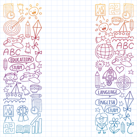 Vector set of learning English language, children's drawing icons in doodle style. Painted, colorful, gradient, on a sheet of checkered paper on a white background Imagens - 124695744