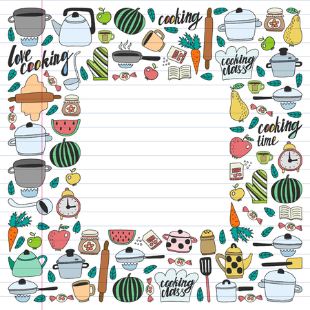 Vector set of children's kitchen and cooking drawings icons in doodle style. Painted, colorful, pictures on a piece of linear paper on white background Imagens - 124674928