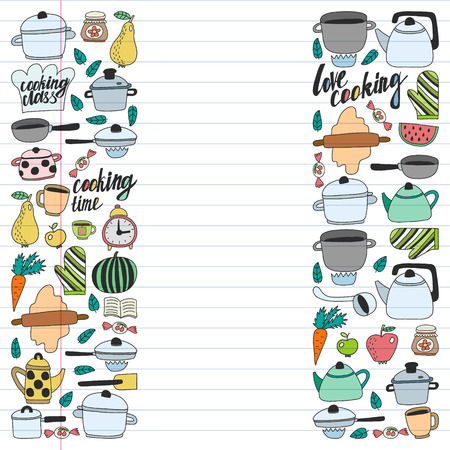 Vector set of children's kitchen and cooking drawings icons in doodle style. Painted, colorful, pictures on a piece of linear paper on white background Imagens - 124674932