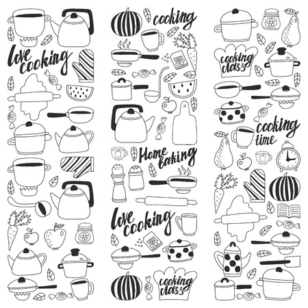Vector set of childrens kitchen and cooking drawings icons in doodle style. Painted, black monochrome, pictures on a piece of paper on white background