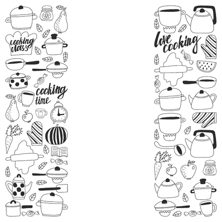 Vector set of children's kitchen and cooking drawings icons in doodle style. Painted, black monochrome, pictures on a piece of paper on white background Imagens - 124635761
