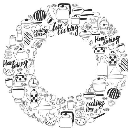 Vector set of children's kitchen and cooking drawings icons in doodle style. Painted, black monochrome, pictures on a piece of paper on white background Imagens - 124635762