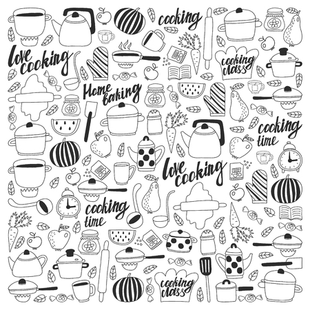Vector set of children's kitchen and cooking drawings icons in doodle style. Painted, black monochrome, pictures on a piece of paper on white background Imagens - 124635763