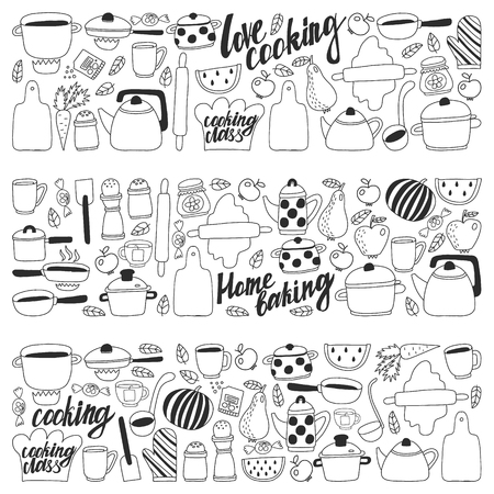 Vector set of children's kitchen and cooking drawings icons in doodle style. Painted, black monochrome, pictures on a piece of paper on white background Imagens - 124635765