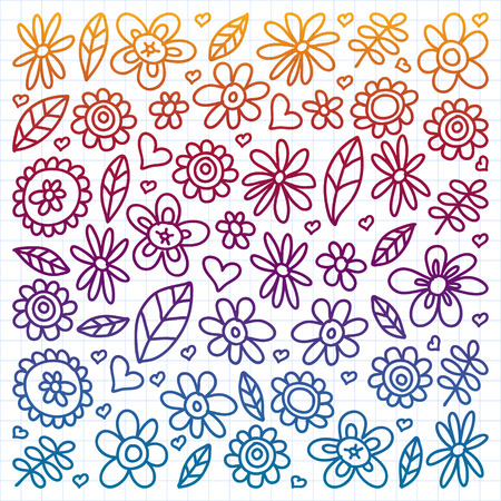 Vector set of child drawing flowers icons in doodle style. Painted, colorful, gradient, on a sheet of checkered paper on a white background