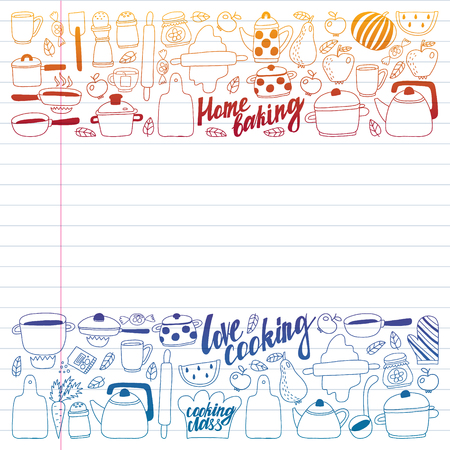 Vector set of children's kitchen and cooking drawings icons in doodle style. Painted, colorful, gradient on a piece of linear paper on white background