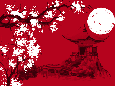 Japan traditional sumi-e painting. Watercolor and ink illustration in style sumi-e, u-sin. Fuji mountain, sakura, sunset. Japan sun. Indian ink illustration. Japanese picture, red background Stock Photo