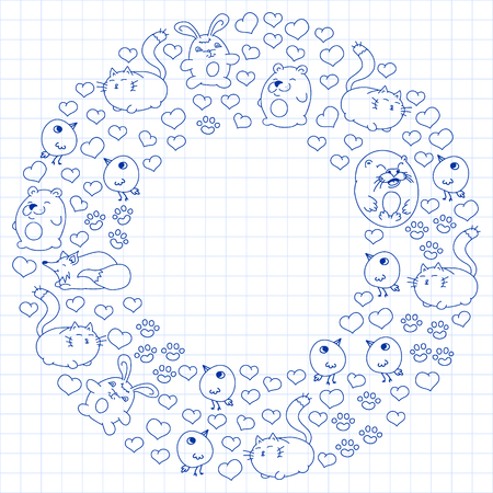 Vector set of beautiful round icons in the form of wild animals for children and design, print, cat ,bear, fox, bird ,hare or rabbit. Round animals with caption on white background in cage Ilustrace