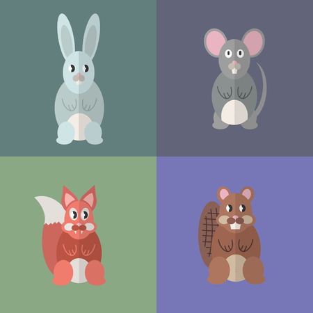 Flat design style animal avatar icon set. Vector illustration Фото со стока - 120648562