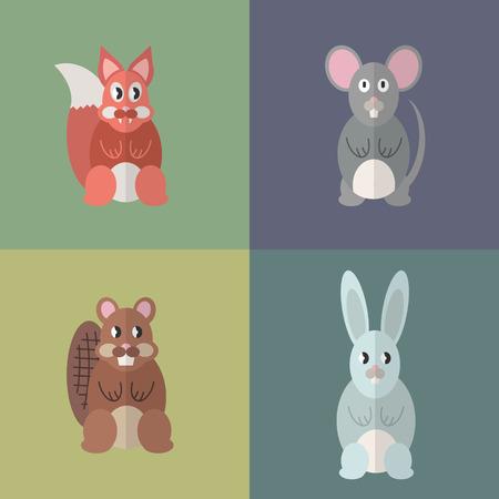 Flat design style animal avatar icon set. Vector illustration Фото со стока - 120648563