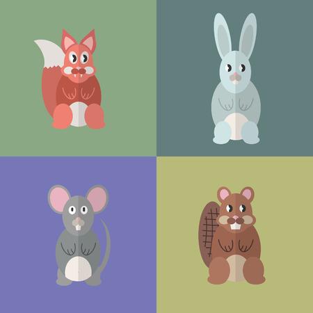 Flat design style animal avatar icon set. Vector illustration Фото со стока - 120648568