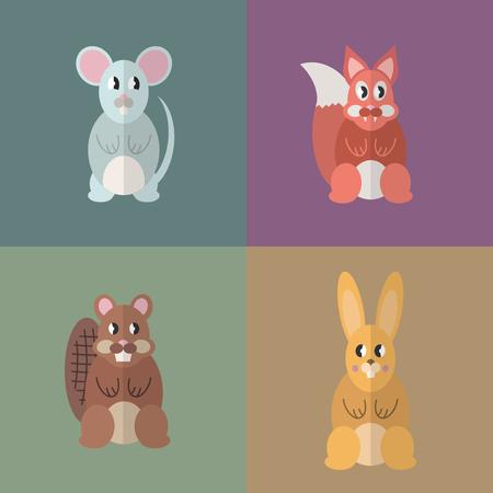 Flat design style animal avatar icon set. Vector illustration