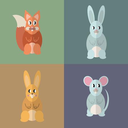 Flat design style animal avatar icon set. Vector illustration Фото со стока - 120648613