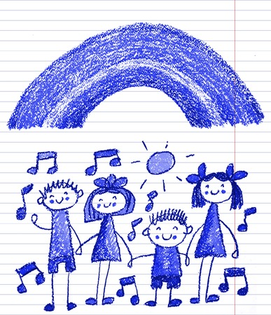 Kids drawing image. Little children, boys and girls. School, kindergarten illustration. Play and grow. Teacher with students Stock Photo