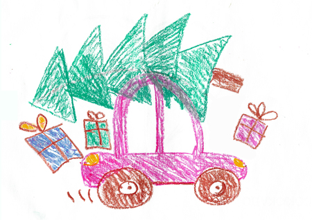 Happy family on the car trip. Father, mother, two daughters and son. Childs drawing