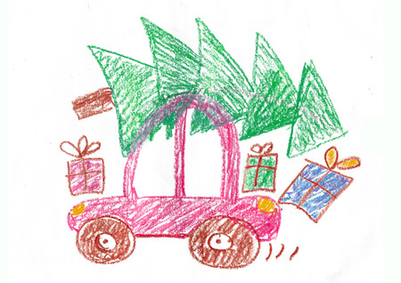 Happy family on the car trip. Father, mother, two daughters and son. Child's drawing