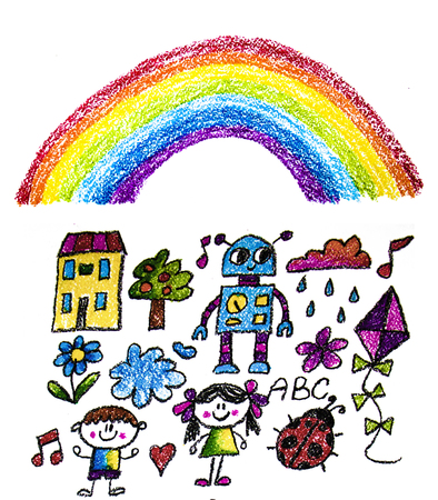 Kids drawing style elements for kindergarten, school. Little children and space exploration, education. Imagination and creativity