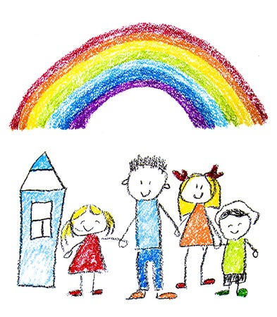 Happy family with little children. Mother and father with kids. Brother and sister with parents. My family with house and rainbow. Kids drawing style illustration isolated on white background
