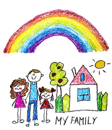 Happy family with little children. Mother and father with kids. Brother and sister with parents. My family with house and rainbow. Kids drawing style illustration isolated on white background Imagens - 122527351