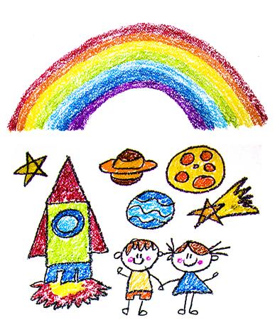 Kids drawing image. Space exploration. School, kindergarten illustration. Play and grow. Crayon image. Ufo, alien spaceship rocket rainbow Banco de Imagens