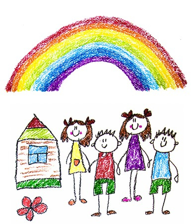 Kids drawing image. Little children, boys and girls. School, kindergarten illustration. Play and grow. Teacher with students Stockfoto