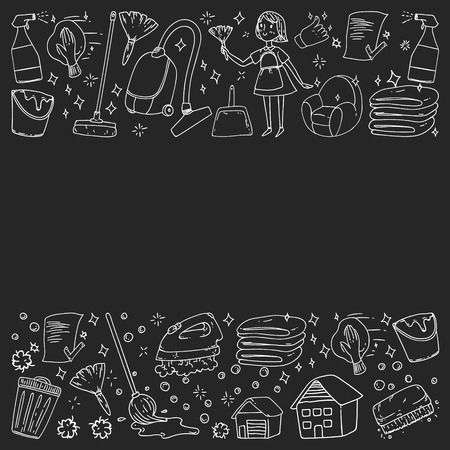 cleaning services company vector monochrome pattern on black background, drawing chalk