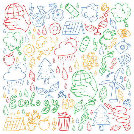 Vector logo, design and badge in trendy drawing style - zero waste concept, recycle and reuse, reduce - ecological lifestyle and sustainable developments icons