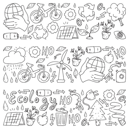 Vector logo, design and badge in trendy drawing style - zero waste concept, recycle and reuse, reduce - ecological lifestyle and sustainable developments icons on monochrome style