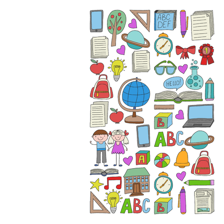 Vector set of Back to School icons in doodle style. Painted, colorful, pictures on a piece of paper on white background