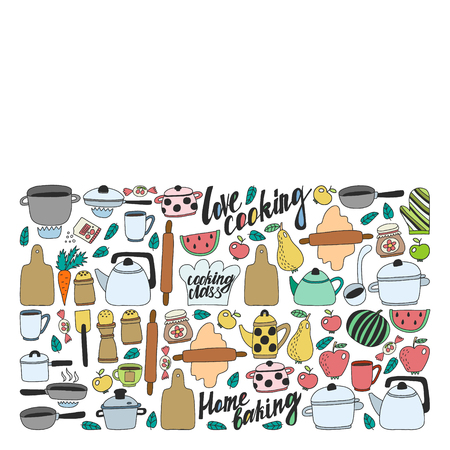 Vector set of children's kitchen and cooking drawings icons in doodle style. Painted, colorful, pictures on a piece of paper on white background