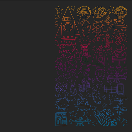 Vector set of space elements icons in doodle style. Painted, colorful, gradient pictures on a piece of paper on blackboard Иллюстрация