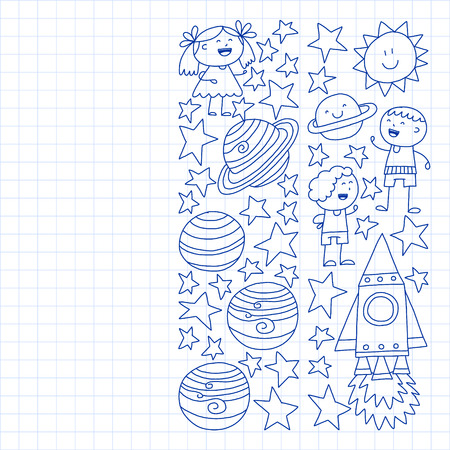 Vector set of space elements icons in doodle style. Painted, drawn with a pen, on a sheet of checkered paper on a white background