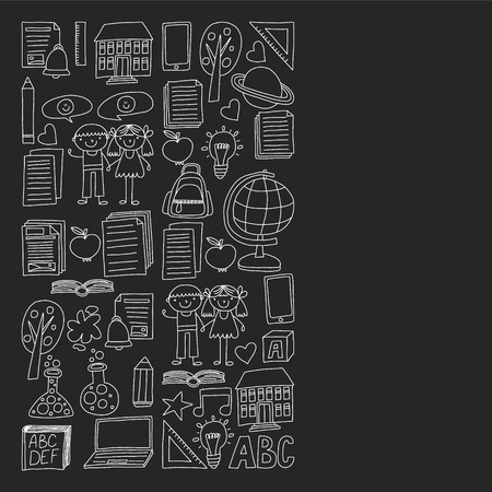 Vector set of secondary school icons in doodle style. Painted, black monochrome, chalk pictures on a blackboard  イラスト・ベクター素材