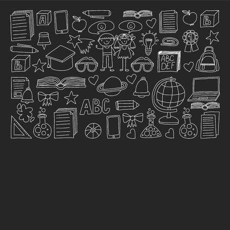 Vector set of secondary school icons in doodle style. Painted, black monochrome, chalk pictures on a blackboard Illustration